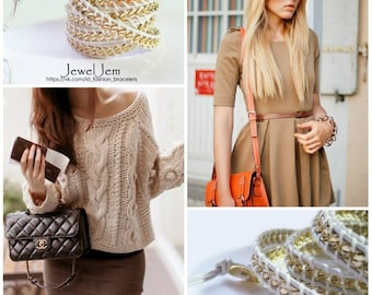 chan-luu chain friendship wrap bracelet 5 rows leather bracelet beige, gold