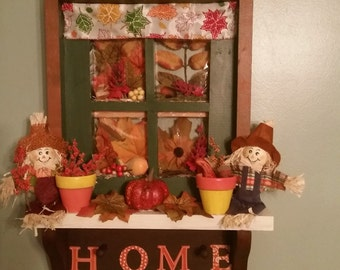 Reclaimed hand decorated/re-painted wooden window for Fall