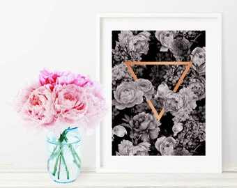 Black Floral Triangle Copper Art Print - Instant Digital Download