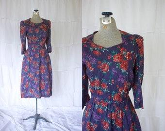 1980s Floral Dress // Purple Floral 1980s Dress // 80s Office Dress