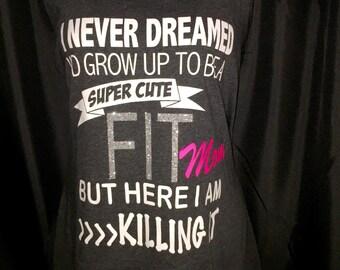 Fit Mom Workout Tank / racerback tank / bling shirt / summer tank / Ladies tank / running apparel / Fit Tank