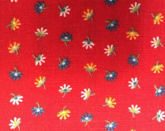 Mini Print Cotton Remnant of Tomato Red Background with Tiny White, Blue, Gold Flowers Floating, #dr39