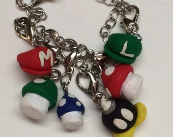 Super Mario Bros. Charm Bracelet; polymer clay