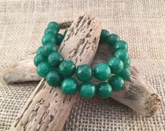 Green Two Wrap Bracelet