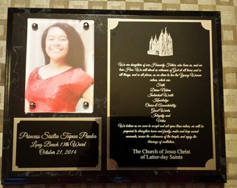 8x10 black Young Women recognition plaque