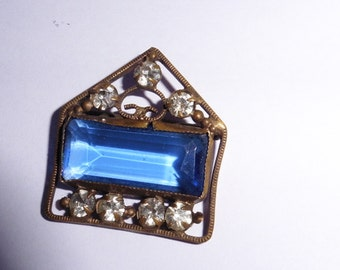 Vintage Brass and large blue stone buckle