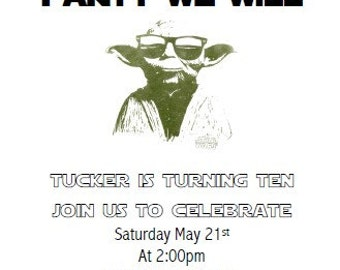 Star Wars Yoda Invitation