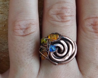 Copper pendant and ring