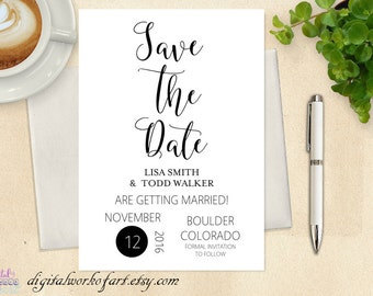 Save the Date Template, Save the Date Card, Save the Date Printable, Wedding Printable, Rustic Wedding, PDF Instant Download, Wedding