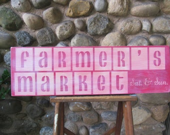 FARMER'S MARKET Handmade Distressed Wood Sign 24 x 7.25 Inches