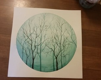 Custom Original Watercolor Trees Available by Request - You pick the color!