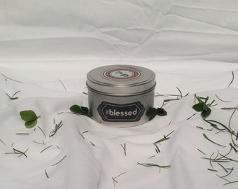 Soy aromatherapy candle: #blessed. Fun gift. Funny gift. Novelty gift.