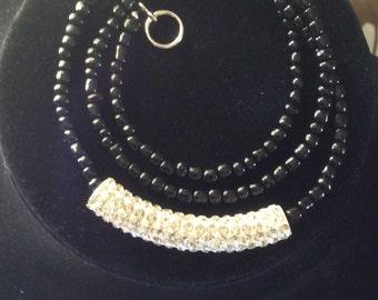 Black and crystal wrap bracelet