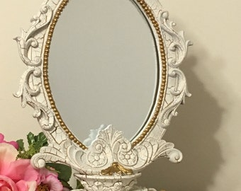 Distressed white and gold baroque mirror/Distressed wedding fairytale mirror sign