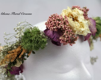Pink & Green Naturally Preserved Floral Crown