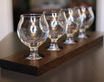 Beer or Whiskey Taster Tray - Includes Tulip Glassware
