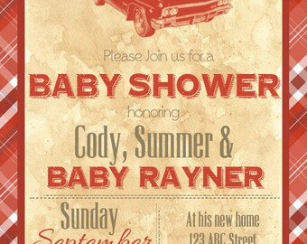 Hot Rod Baby Shower Invitation