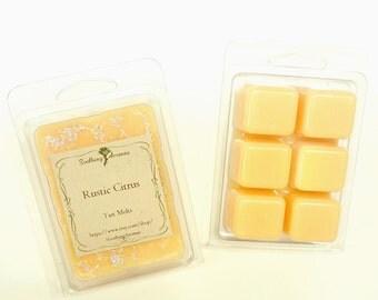 Wax Melt(Rustic Citrus scented), soy paraffin wax tarts, wax tarts, fragrance, handmade, orange,clamshell