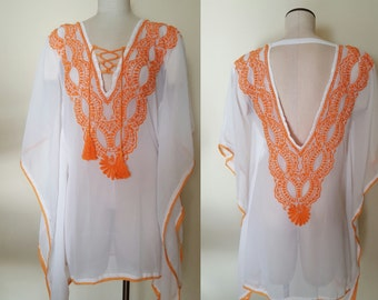 Sheer Hand made embroidery tunic