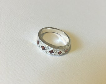 Silver and red costume jewellery ring