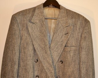 Vintage 1980s Gray,Black and White Wool Tweed Men's Double Breasted Evan Picone Sport Coat Sz 42R