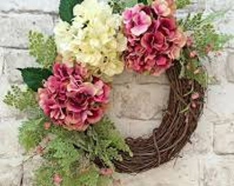 Pink and White Hydrangea Wreath