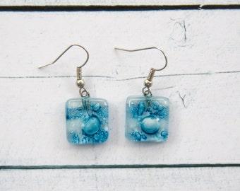 Fused glass earrings Dangle earrings Fused glass jewelry Fused glass drop earrings white and blue shades A2