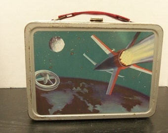 Vintage Satellite Metal Lunch Box No Thermos, American Thermos co. 1958