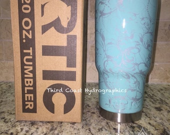 New RTIC 20oz Stainless Tumbler Hydro Dipped In Paisley Floral Robbins Egg Blue