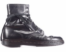 Grunge ANKLE Boots 90s Black Leather Combat Boot size Women US 8 1/2, Eur 39, UK 6