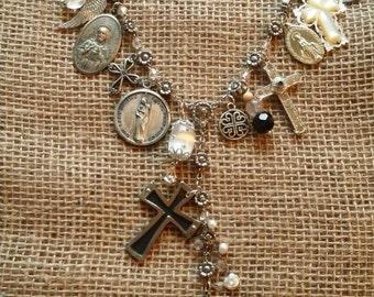 Faith Upcycled Mixed Media Pendant Necklace
