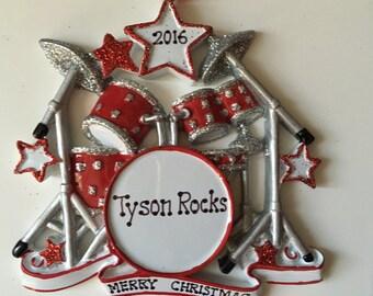 Personalized Drummer, Rockstar Drum Set , Rockband Christmas Ornament- Artist, Musicians