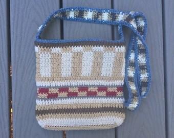 Crochet Bag with Vertical and Horizontal Stripes - Tapestry Crochet Handbag - Crossbody Purse