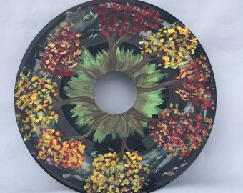 Hand-painted Fall Tree Design Record