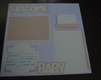 12x12 Baby's First Year Pre-Made Scrapbook Pages (20 Pages) - Baby Boy