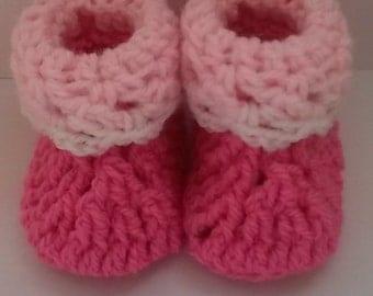 Baby Booties, Crochet Baby Booties, Pink Baby Booties, Newborn, 3 months