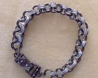 Glass ring chain maille bracelet