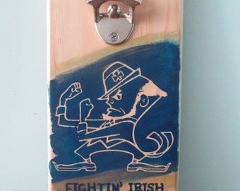 Notre Dame Fightin' Irish Wall Mounted Wooden Bottle Opener with magnetic cap catcher bottle cap catching opener