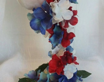 Tea Cup Red White and Blue Bouquet