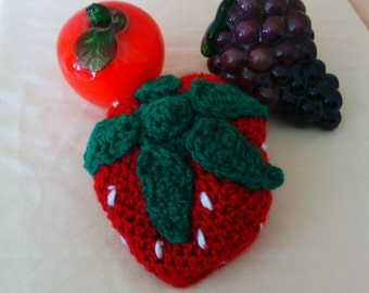 Strawberry crocheted baby hat