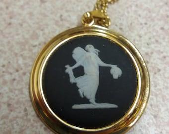 Wedgwood Jasperware Black Cameo Pendant Necklace - Goldtone - Retro Chic Vintage - Ceramic British Jewelry