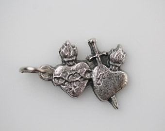 Sacred Heart Jewelry Charm - Immaculate Heart Charm - Two Hearts Silver Oxidized Charm Made in Italy (M40)