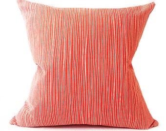 Large Coral Cushion- Red Cushion- Scandinavian Cushion- Cushion Cover- Designer- Striped- Contemporary Cushion- Modern Cushion - Cotton