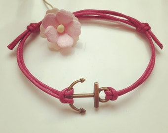 Anchor bracelet in pink, waxed cotton, vintage, statement, blogger, anchor