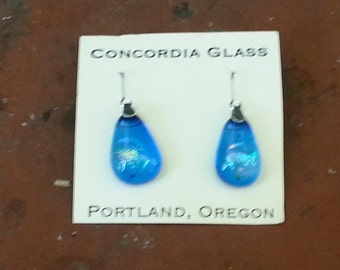 fused blue dichroic glass earrings set in sterling silver