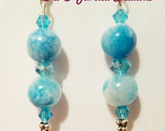 Blue Glass Swirled Beaded Drop Earrings