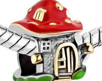 Charm Central Premium Mushroom House Charm for Charm Bracelets - Fits Pandora Bracelets