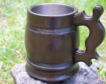 Beer mug, wooden beer mug, Wooden oak beer mug with metal cup inside, Groomsmen gift, wooden mug with metal inside