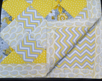 Yellow and Grey Paisley and Chevron Quilt