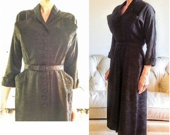 Vintage dress 1950s 50s black medium taffeta 3/4 sleeve bombshell hourglass wiggle midcentury retro midi belt buttons pockets curves atomic